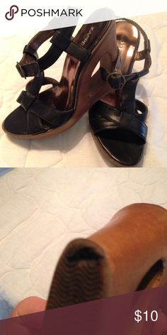 Wedge heel Black upper with brown lower wedge.  Worn multiple times.  Only sign of major wear on one heel (see picture). Xappeal Shoes