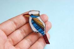 Bird brooch Illustrated kookaburra bird by lacravatteduchien