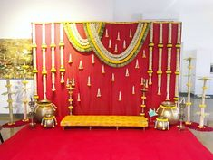 : Stage decoration ideas with flowers Stunning wedding stage decoration ideas. WOW images for stage decoration for wedding by Flower decorators. Naming Ceremony Decoration, Wedding Hall Decorations, Marriage Decoration, Engagement Decorations, Backdrop Decorations, Flower Decorations, Backdrops, Diwali Decorations, Decoration Party