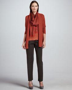 Merino Links Long Cardigan, Tank, Heavyweight Rayon Slim Pants & Cross-Dyed Silk/Cashmere Wrap  by Eileen Fisher at Neiman Marcus.