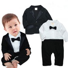 9.97AUD - Baby Boys Wedding Party Christening Tuxedo Suit Romper Coat Outfit  Clothing Pop   60580fc746c