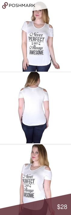 """COMING! Plus Size Text Printed Cut Out Sleeve Top Plus Size Text Printed Cut Out Sleeve Top in white with black print. Coming soon!!! 🇺🇸MADE IN THE USA🇺🇸 Just """"Like"""" and you will receive notice when they arrive! Quantities are limited on this one! No holds. First come, first served. Price is firm unless bundled. Tops"""
