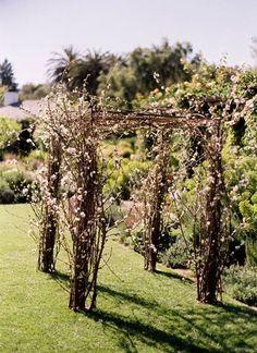 Une vue d'une arche romantique avec des branches d'arbre