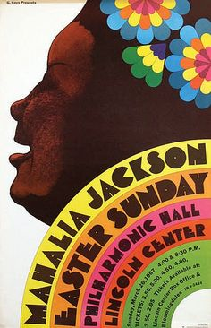 Poster by Milton Glaser - Mahalia Jackson Easter Sunday concert at Lincoln Center, New York