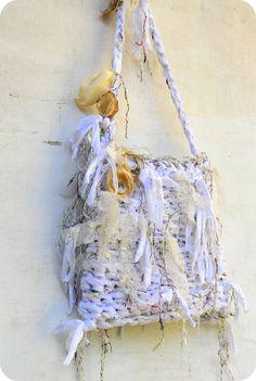 White Rag Handbag  Bridal Fairy Purse   OOAK Fabric and by odpaam, $47.00