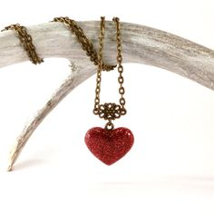Sparkly red heart pendant - red glitter heart necklace - boho heart jewelry - resin heart pendant - romantic gifts for her - love jewelry by JolieGlace on Etsy