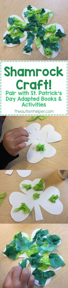 Compliment your St. Patrick's Day adapted book work & activities with our shamrock craft! From theautismhelper.com #theautismhelper