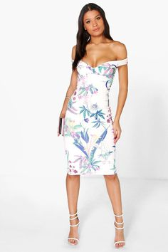 21f3539110 Cleo Floral Sweetheart Off The Shoulder Midi Dress