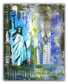 BURGSTALLER Freiheitsstatue Liberty Abstrakte Malerei Original Bilder Gemälde
