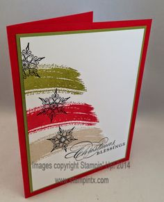 2014 Christmas Blessings with Snowflakes Card Stamps:  Work of Art, More Merry Messages (for sentiment), Snowflake Soiree Ink:  Old Olive, Real Red, Crumb Cake Paper:  Real Red, Old Olive, Whisper White