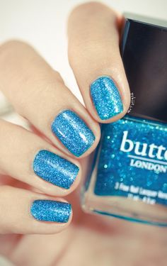 butter London -- Scallywag glittery blue nail polish / lacquer