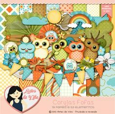 Kit Digital Corujas Fofas by Vika Matos - R$13,50 : Boutique do Scrap