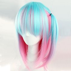 Rosa Haare 2019 - New-Lolita-Blue-Mixed-Pink-Anime-Women-Girl-Lovely-Cosplay-Hair-Full-Wig - Frauen Frisuren Blue Wig, Pink Wig, Anime Wigs, Anime Hair, Cosplay Hair, Cosplay Wigs, Frontal Hairstyles, Wig Hairstyles, Kawaii Wigs