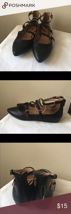 Mossimo black buckle detail flats Black faux buckle flats - pointed toe - back zipper closure - new without tags! - size 9.5 Mossimo Supply Co. Shoes Flats & Loafers
