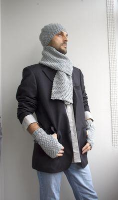 Handknit Wool Scarf  For Men For My DAD perfect Gift by denizgunes, $55.00