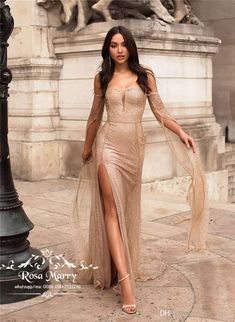 Gold Sequined Arabic Mermaid Evening Dresses 2020 Yousef Aljasmi Side Split Plus Size Cheap Caped Celebrity Dresses Evening Party Prom Gowns Sequin Prom Dresses, Prom Dresses Long With Sleeves, Prom Party Dresses, Sequin Dress, Sexy Dresses, Beautiful Dresses, Formal Dresses, Prom Gowns, Dress Prom