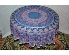 Blue Elephant Pattern Round Mandala Wall Cotton Tapestry Boho Table Cloth, This Indian ethnic designed roundie tapestry beach throw added to your house for a complete transformation.