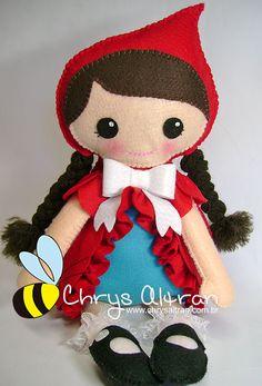 Red riding hood felt doll