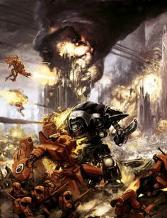 """captainblacklobster: """"Timeline of the Millennium: * The Tau Empire and Imperium of Man fight over Nimbosa. Commander Brightsword is censured for the Koloth Gorge Massacre. Warhammer 40k Art, Warhammer Fantasy, Empire Tau, Odst Halo, Imperial Knight, Far Future, Space Marine, Dark Ages, Sci Fi Fantasy"""