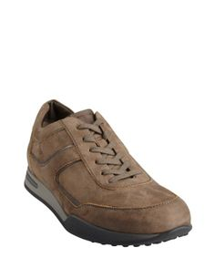 Tod's light brown brushed leather lace up sneakers
