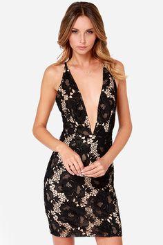 Style Stalker Scarlet Plunging Black Lace Dress at Lulus.com!