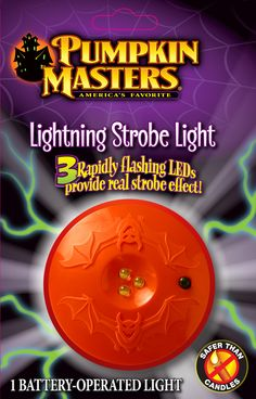 Your kids will love Pumpkin Masters Lightning Strobe Light in their pumpkins (they're safer too!).  This light uses 3 ultra-bright white LEDs that flash in rapid succession for a real strobe effect.