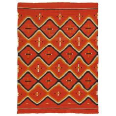Antique Navajo Trans Blanket, Oriental Rug, Handmade Wool Rug, Orange | From a unique collection of antique and modern north and south american rugs at https://www.1stdibs.com/furniture/rugs-carpets/north-and-south-american/