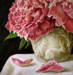 JEANNE ILLENYE - Still Lifes: Burgundy Pink Peonies with Creamware Bunnies Little Gems Oil Paintings
