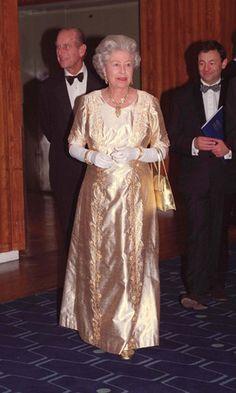 The Queen! Queen Elizabeth II Wedding Anniversary Gala at the Royal Festival Hall in London 1997 Elizabeth Philip, Queen Elizabeth Ii, Hm The Queen, Queen Queen, Princess Diana Dresses, Queen And Prince Phillip, Elisabeth Ii, Queen Birthday, Isabel Ii