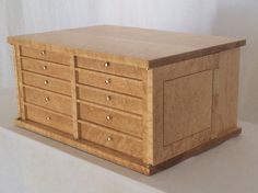 A ten drawer jewelry cabinet made from birdseye maple. Home Office Furniture, Fine Furniture, Custom Furniture, Birdseye Maple, Jewelry Cabinet, Cabinet Making, Built Ins, Bookshelves, Drawers