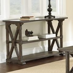 The Steve Silver Southfield Sofa Table - Weathered Pine complements your leather sofa, dark wood furniture, or antique pieces with aplomb. Steve Silver Furniture, Dark Wood Furniture, Entry Furniture, Sofa End Tables, Entryway Tables, Console Tables, Foyer, Pine Table, Traditional Furniture