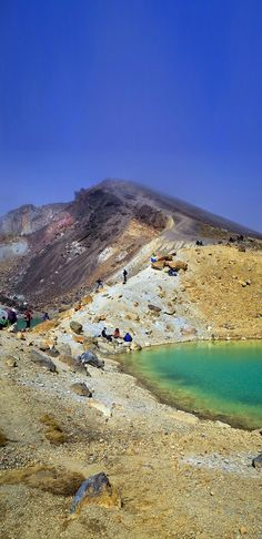 Tongariro crossing is one of the few busy trails on the North Island, NZ