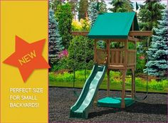Happy Space Swingset - small space set w tower, slide & sandbox