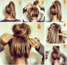 Messy bun at the top of your head~ Hair Tutorial, So cute and easy do within 5 mintues