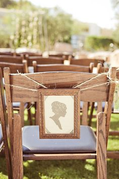 Silhouette themed wedding chair sign