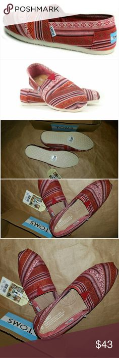 Toms classic sneaker TOMS size 6.5  nib slip on classic sneaker these are called red but I think they are red rust my photo is more true color than stock photo - it's exactly the color in photos TOMS Shoes