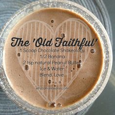 All-time FAV Shakeology Recipe! The 'Old Faithful'  Chocolate Shakeo, PB, banana! 21 Day Fix Approved  Eff You Mom Jeans - Katie Rollins