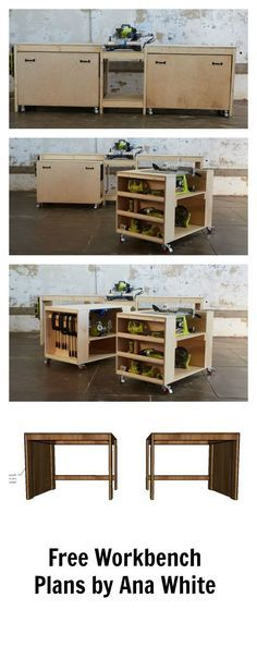 Amazing easy roll away diy workbench with built in mitersaw, table saw and kreg jig. Free plans by ana-white.com space saving design features two large work carts with embedded bench tools. Make building easier!