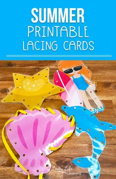 Printable summer lacing cards - create your own lacing cards at home to work on your child's fine motor skills and hand coordination - perfect for preschoolers and kindergarteners. Bubble Activities, Summer Preschool Activities, Fine Motor Activities For Kids, Motor Skills Activities, Printable Activities For Kids, Outdoor Activities For Kids, Toddler Activities, Senses Activities, Nursery Activities