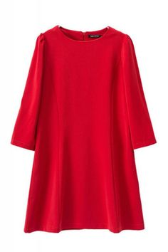 A-lien Plain Roud Neck Three Quarter Sleeve Dress