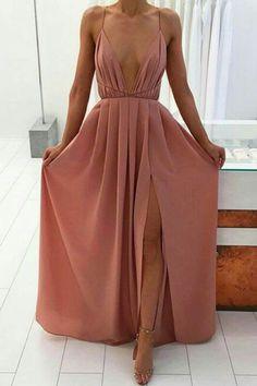 Chiffon prom dress, ball gown, sexy blush chiffon long prom dress with straps