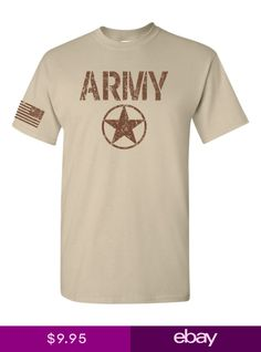 06a4136b80a United States ARMY Star US FLAG on Sleeve Sand wBrown Mens Tee Shirt 1757