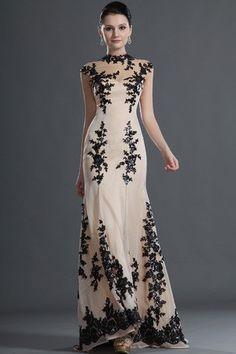 Evening Dresses Glamorous & Dramatic Chiffon Lace Decoration Mermaid Floor-Length Lace Petite
