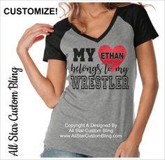 My Heart Belongs To My Wrestler Raglan Shirt, Wrestling Mom Shirts, Custom Wrestling Shirt, Mom Wrestling Shirt,Personalized Wrestling Shirt by AllStarCustomBling on Etsy