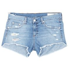 Rag & bone/jean Distressed cutoff denim shorts ($175) ❤ liked on Polyvore featuring shorts, bottoms, pants, denim, short, blue, cuffed denim shorts, frayed jean shorts, low rise denim shorts and cut-off shorts