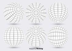 White Globe Grid Vectors