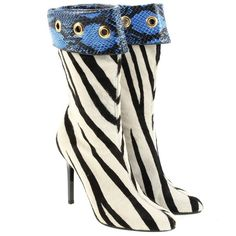 Pre-owned Ankle boots in Zebra look ($590) ❤ liked on Polyvore featuring shoes, boots, ankle booties, black, ankle boots, black ankle boots, stiletto ankle boots, black booties and black fur boots