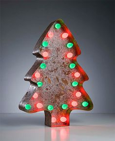 This vintage marquee light is so festive!