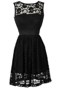 Sleeveless A-Line Lace Overlay Dress in Black