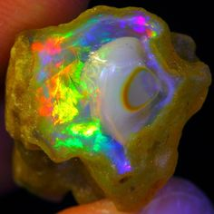 BEST OF BEST 19.14Ct Incredible Pattern +NEON Rainbow Color Welo Opal Rough